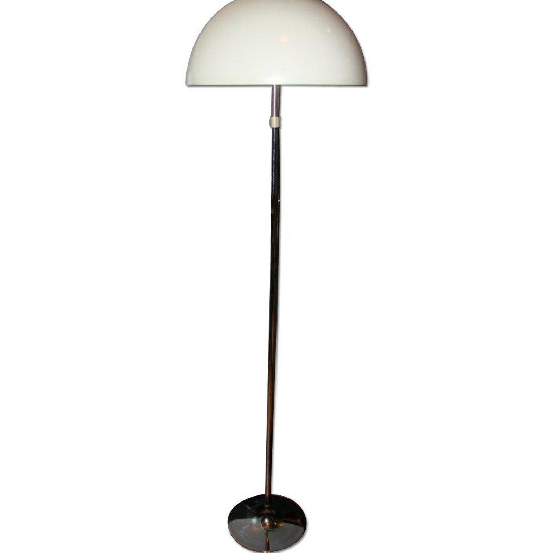 mid century adjustable White Plastic/Chrome Floor Lamp