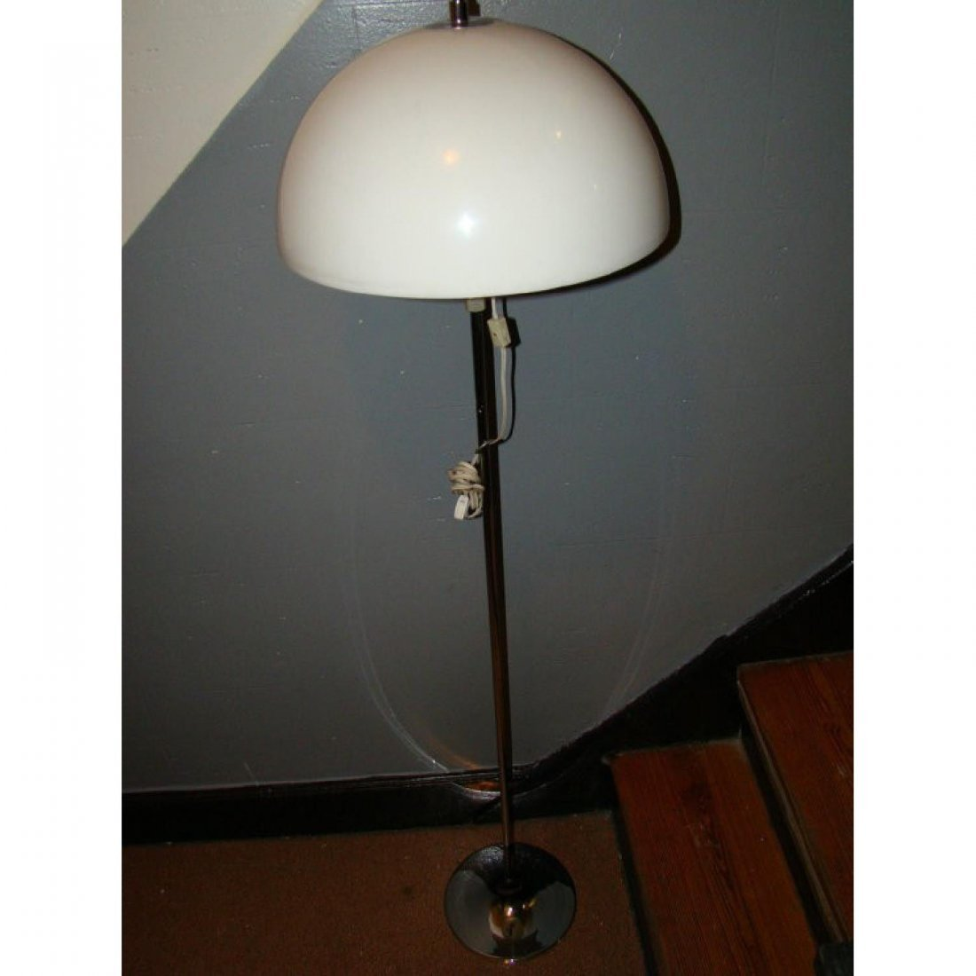 mid century adjustable White Plastic/Chrome Floor Lamp - 5