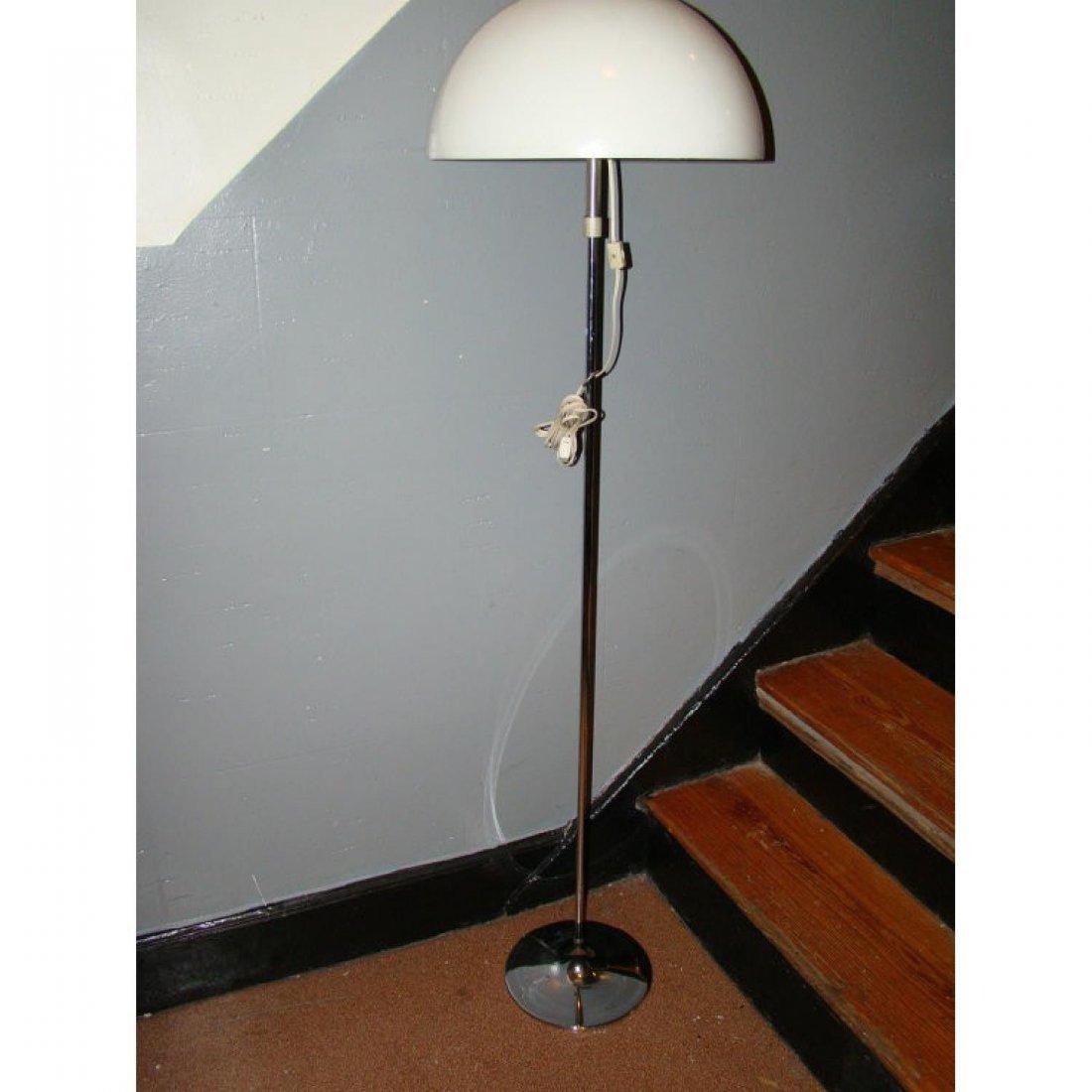 mid century adjustable White Plastic/Chrome Floor Lamp - 6