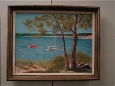 o/c Cape Cod Inlet Boats & Harbour Scene by E. HEBBERD