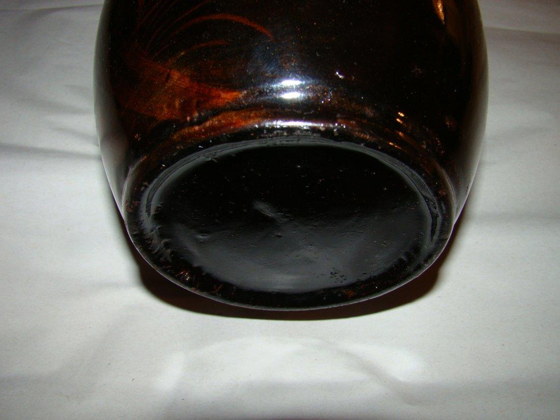 antique Black LACQUER VASE w/handpainted GOLDFISH / KOI - 3