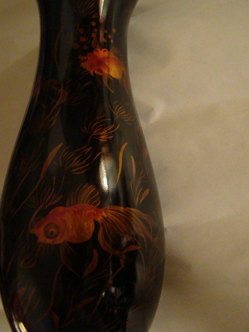 antique Black LACQUER VASE w/handpainted GOLDFISH / KOI - 6