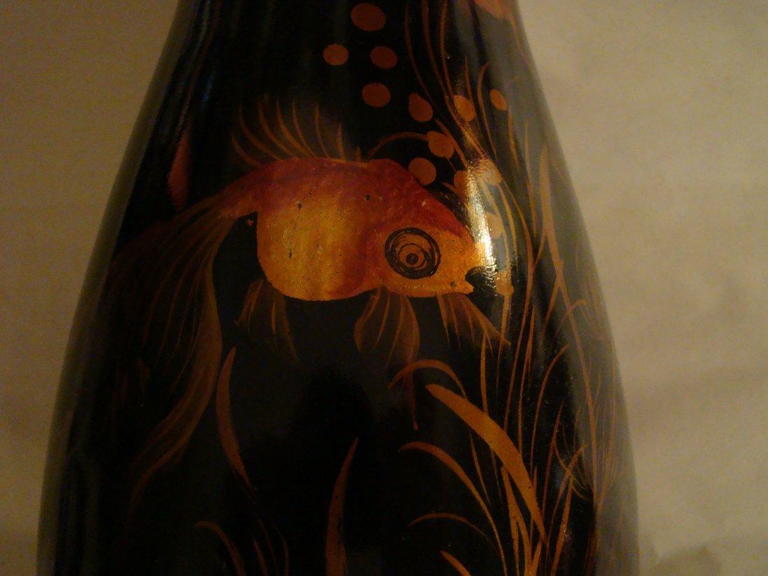 antique Black LACQUER VASE w/handpainted GOLDFISH / KOI - 7
