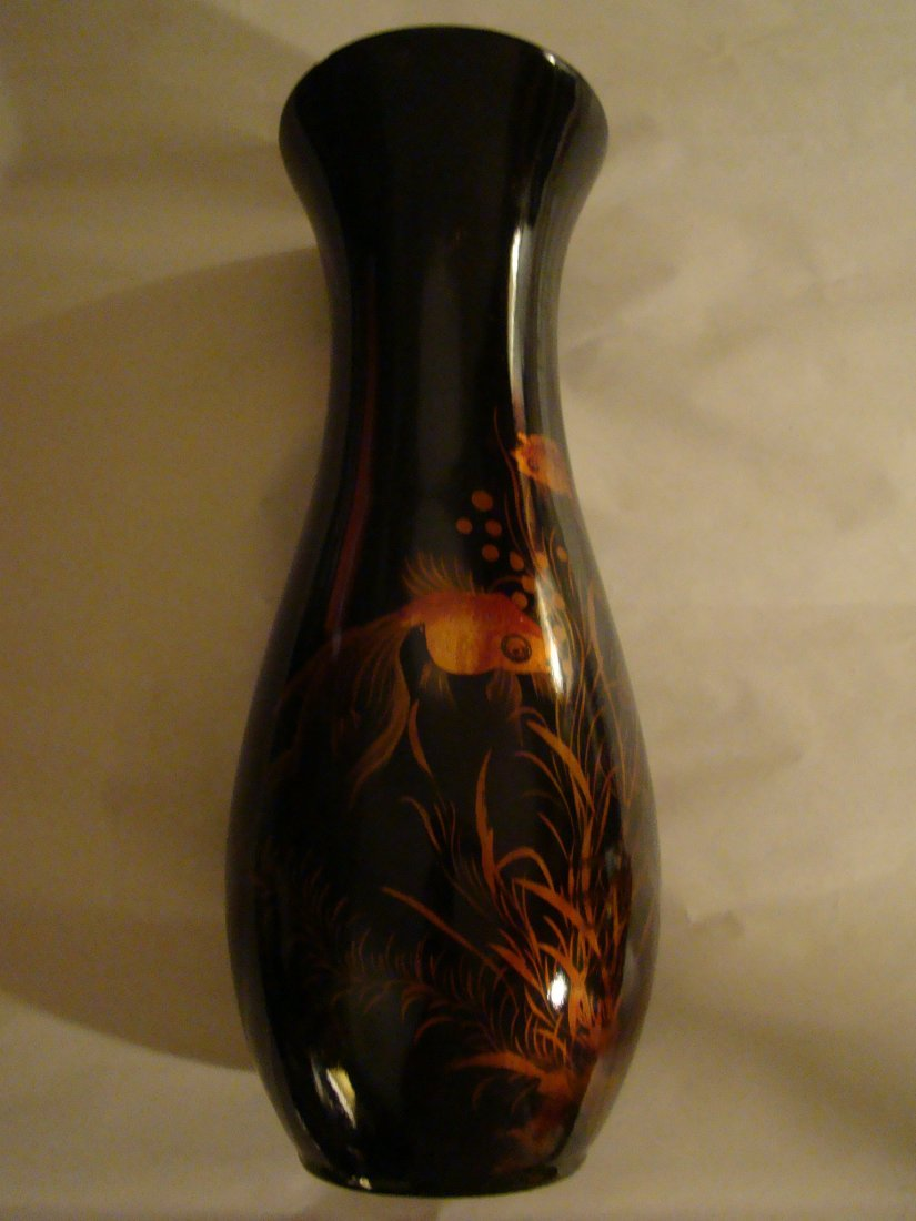 antique Black LACQUER VASE w/handpainted GOLDFISH / KOI - 8