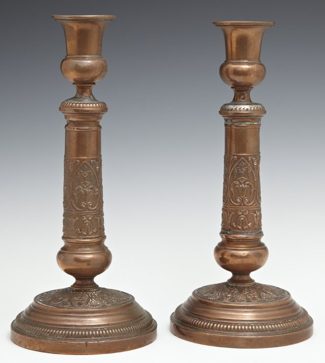 Pair of English Copper Repousse Candlesticks, 19th c.,