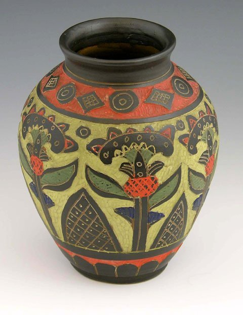 Unusual Carved and Polychrome-Glazed Red Ware Storage
