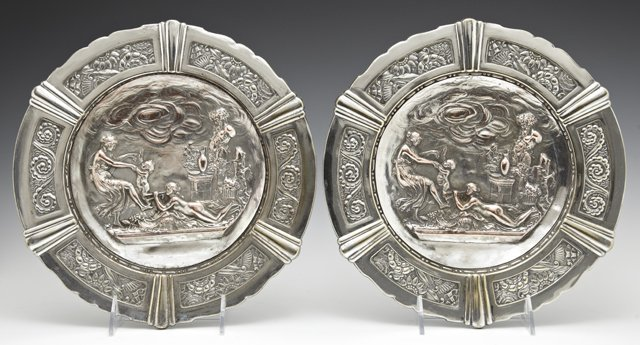 Pair of French Copper Plated Spelter Wall Plaques, c.
