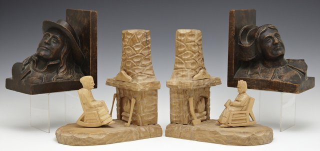 Two Pair of French Carved Wood Bookends, 20th c., one