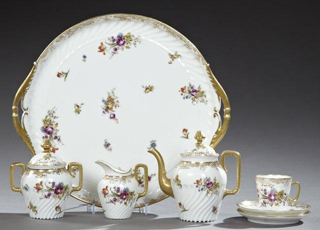 French Porcelain Seven Piece Petit Dejeuner Set, late