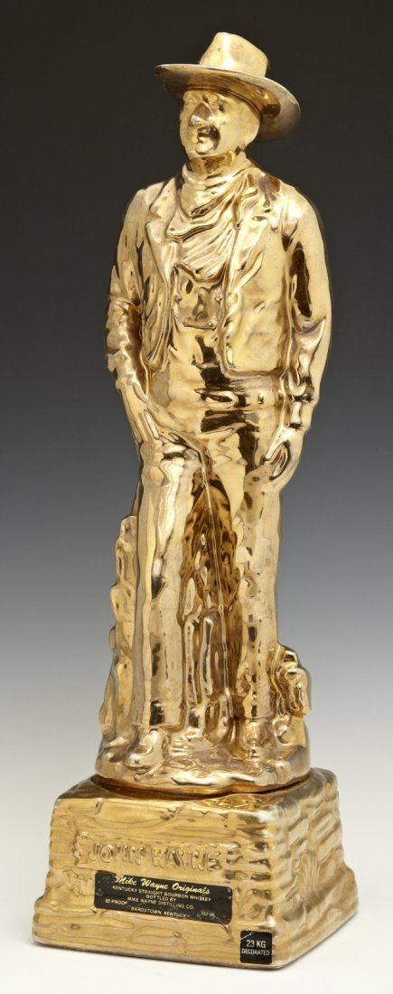 Gilt Ceramic Figural Whiskey Decanter, 20th c., of a