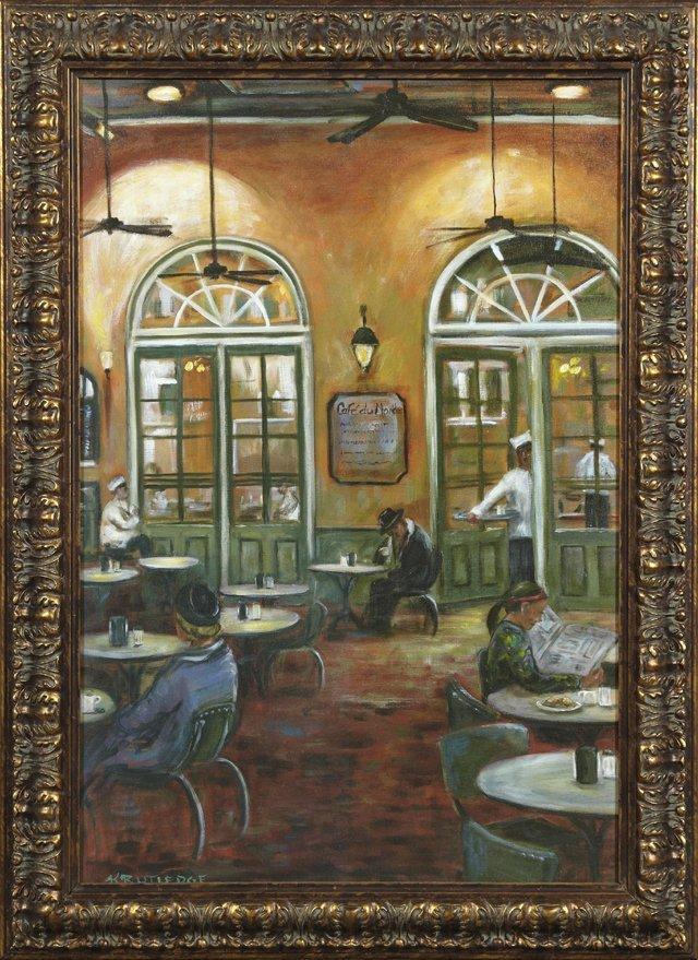 """K. Rutledge, """"Cafe du Monde,"""" 20th c., oil on canvas,"""