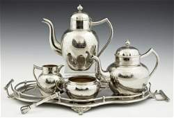 French Six Piece Silverplated Tea Set, early 20th c.,