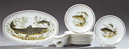Twelve Piece Ceramic Fish Set 20th c by Longchamps