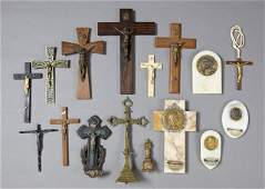 Sixteen Pieces of French Religious Items consisting of