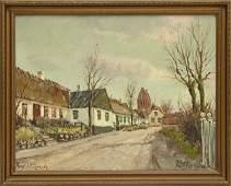 "Continental School, ""Village Street Scene,"" early 20th"