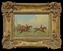 """William Rowland, """"End of the Chase,"""" early 20th c., oil"""