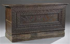 Continental Carved Walnut Blanket Chest early 19th c