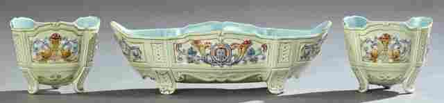 Three Piece Majolica Garniture Set, late 19th c., by