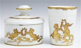 Two Piece Limoges Porcelain Dresser Set 20th c