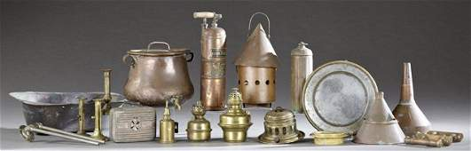 Group of Twenty French Brass and Copper Items early