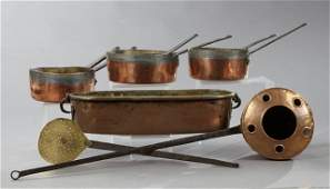 Group of Seven French Copper Cooking Items early 20th