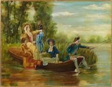 "De Cayere, ""Fishing in the Lake,"" 20th c., oil on"