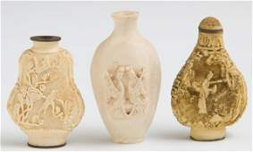 Group of Three Oriental Carved Composition Snuff