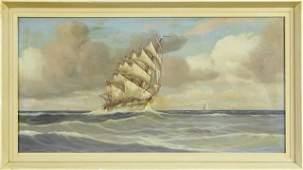 J V Wilst Clipper Ship on the Sea 20th c oil on