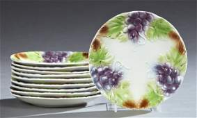 Group of Ten Majolica Fruit Plates, 19th c., with grape
