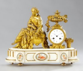 Gilt Spelter And Alabaster Figural Mantel Clock, 19th
