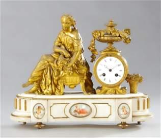 Gilt Spelter and Alabaster Figural Mantel Clock, 19th