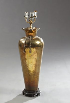 Large Hammered Brass Baluster Urn Lamp, 20th C., On An