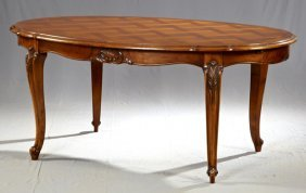 Louis Xv Style Carved Cherry Dining Table, 20th C., The