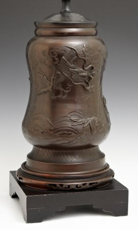 Japanese Patinated Bronze Waisted Baluster Urn, Early