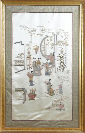 Chinese Embroidered Panel, First Quarter 20th Century,