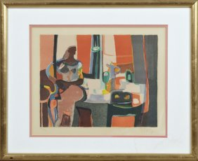"""Marcel Mouly (1918-2008), """"nude At A Table,"""" 20th C.,"""