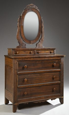 American Victorian Carved Mahogany Dresser, Late 19th