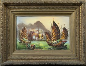 """Chinese School, """"junks In The Harbor,"""" 20th C., Oil On"""