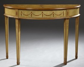 Adams Style Marquetry Inlaid Mahogany Demilune Console,