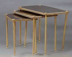 French Nest Of Three Brass Regency Style Tables, 20th