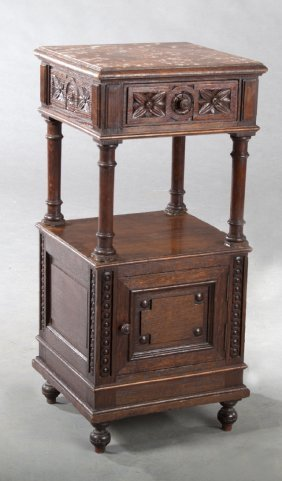 French Henri Ii Style Carved Oak Marble Top Nightstand,