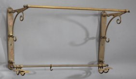 French Belle Epoque Hanging Brass Hat Rack, C. 1900,