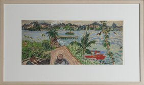 "Emil Armin (1883-1971), ""caribbean Harbor Scene,"" 20th"