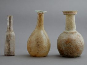 Group Of Three Glass Bottles, Two Roman Glass, 1st-4th