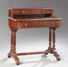 English Victorian Carved Mahogany Lady's Desk, Late