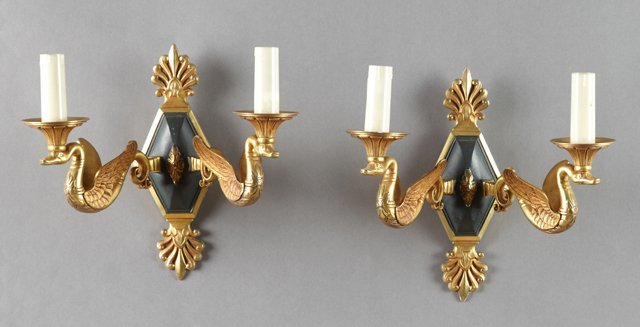 Pair of French Empire Style Patinated and Gilt Brass