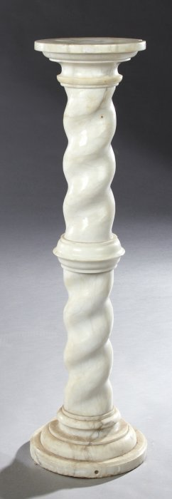 Continental Baroque Style Carved Marble Pedestal, 19th