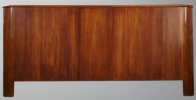 Art Decostyle Curved Mahogany King Size Headboard, 20th