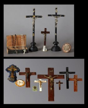 Large Group Of French Religious Items, 20th C.,