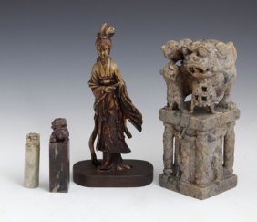 Group Of Four Chinese Carved Soapstone Items, Early